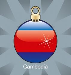 Cambodia flag on bulb vector image