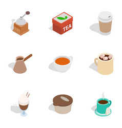 coffee shop icons isometric 3d style vector image