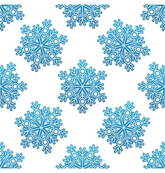 Decorative blue snowflakes seamless pattern vector image