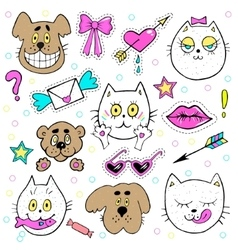 Fashion patch badges with kitten puppy teddy vector image vector image