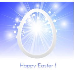 happy easter with easter egg on blue sky with rays vector image