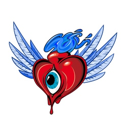 heart with eye tattoo design vector image vector image