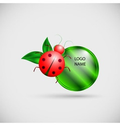 Logo banner with ladybug and leaves vector