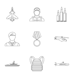 Military weapons icons set outline style vector