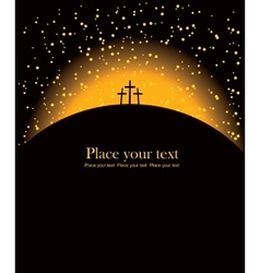Mount Calvary with three crosses vector image vector image