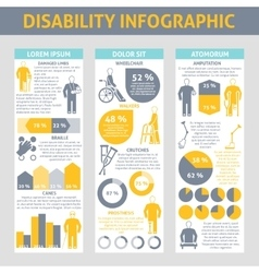 People With Disabilities Infographic Set vector image vector image