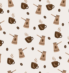 seamless pattern cute Cup of coffee and Turkish vector image