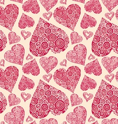 seamless pattern with romantic decorative harts vector image vector image