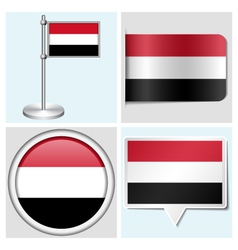 Yemen flag - sticker button label flagstaff vector image vector image