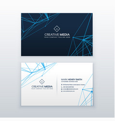 Abstract lines business card blue template vector