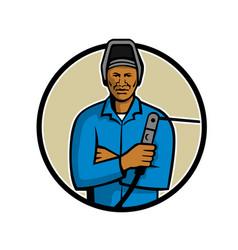 African american welder mascot vector