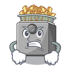 Angry cooking french fries in deep fryer cartoon vector
