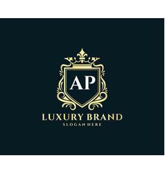 Ap initial letter gold calligraphic feminine vector