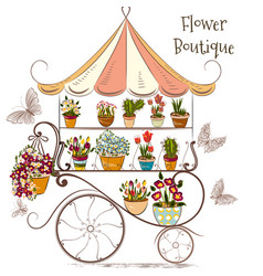Beautiful with flower shop or boutique fully flowe vector