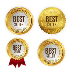 best seller golden shiny label sign collection set vector image