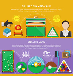 Billiard game horizontal banners vector