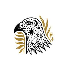 Bird boho eagle head magical vintage distressed vector