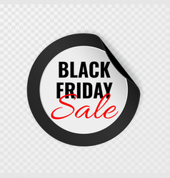 black friday sale black round sticker with curled vector image