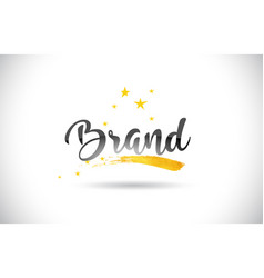 Brand word text with golden stars trail and vector