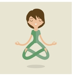 cartoon woman is doing yoga vector image
