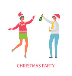 christmas party celebration man glass champagne vector image