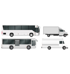 City bus and truck template passenger transport vector