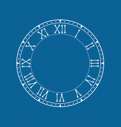 Clock face with roman numerals on blue background vector