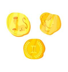 Coins and antique logo set vector