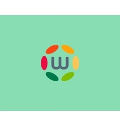 Color letter w logo icon design hub frame vector