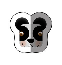 Colorful face sticker of panda in square shape vector
