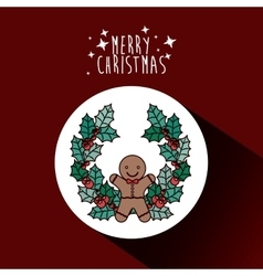 Coockie and wreath of Merry Christmas design vector