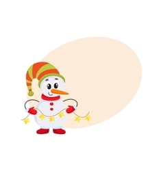 Cute and funny little snowman holding a garland vector image