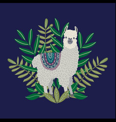 cute llama with leaves on the blue background vector image