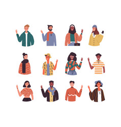 diverse culture young people set isolated vector image
