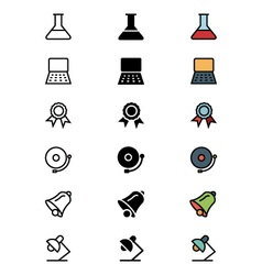 Education Outline Filled and Colored Icons 5 vector image
