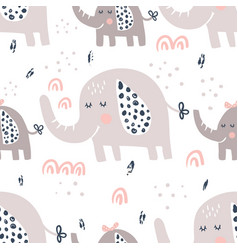 Elephants family pattern vector