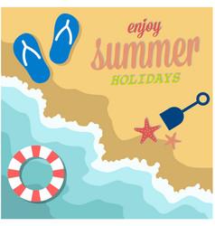 Enjoy summer holidays beach seashore life ring bac vector