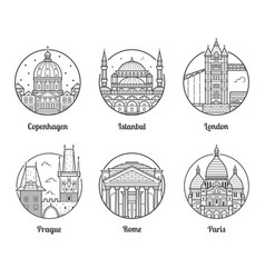Europe travel destinations icons vector