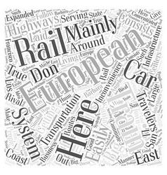European trains Word Cloud Concept vector