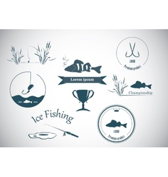 Fishing labels and design elements vector image