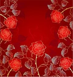 Golden red roses vector