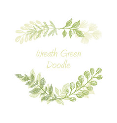 Green floral doodle branch border vector