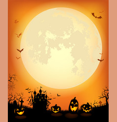 halloween background with scary dracula castle vector image