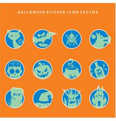 halloween sticker icon set vector image