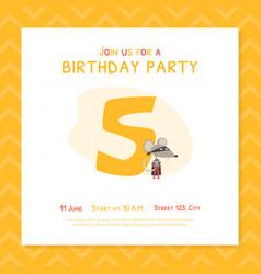 happy 5th birthday invitation card template vector image