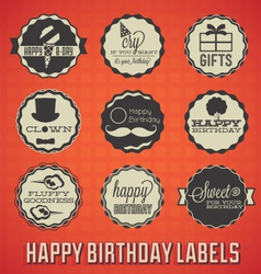 Happy birthday labels and icons vector