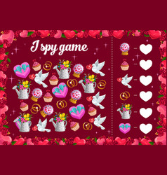 I spy kids game with valentines day items riddle vector