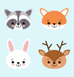 Icon set of cute forest animals white hare or vector