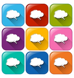 Icons with empty cloud templates vector image