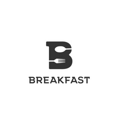 Initial letter b with spoon and fork vector